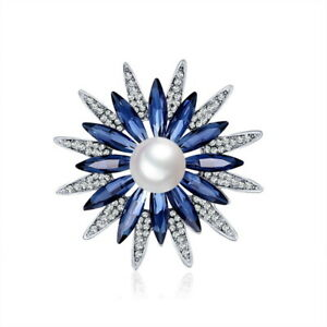 Charm Crystal Pearl Snowflake Brooch Pin Women Costume Wedding Jewelry Xmas Gift