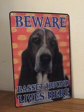BEWARE BASSET HOUND LIVES HERE SIGN IN 3D