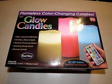 AS SEEN ON T.V. FOUR PC. FLAMELESS COLOR CHANGING REAL WAX LED GLOW CANDLES SET