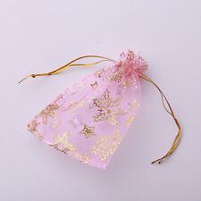 50x Snowflake Organza Pink Pouch Gift Bag 9x12cm 120308