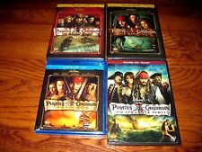 Lot of [4] Pirates of The Caribbean; Disney, Depp ] Blu-ray+ DVD ] NEW+Fast Ship