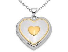 Pendientes de plata esterlina colgante medallón en forma de corazón con cadena