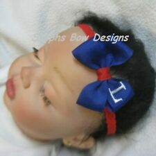 Royal Blue White Red Monogram Dainty Hair Bow Headband Personalized Preemie Tod