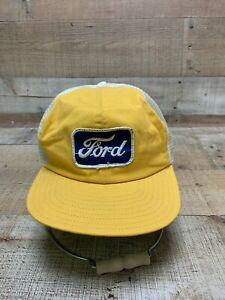 Vintage FORD Trucker Snapback Hat Cap Yellow Mesh Patch 70s 80s     Free Ship