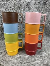 8 Vtg Tupperware STACKING COFFEE CUP MUGS 1312 Harvest Colors