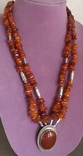 Vintage Southwest Honey Amber Necklace Sterling Agate Pendant