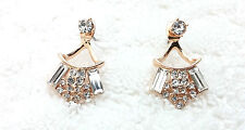 Yellow Gold Plated Ear Jacket Front Back Double Sided Crystal Stud Earrings! #2