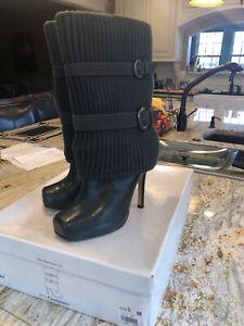 Vtg Bakers Gray Leather Calf Platform Heel Sock Sweater Square Toe Boots 8 7.5