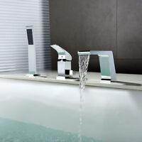 Modern Chrome Deck Mounted Roman Tub Shower Filler Faucet with Handshower