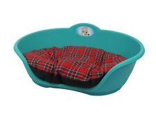 LARGE Plastic TEAL AQUA GREEN Pet Bed With RED TARTAN Cushion Dog Cat Sleep