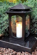 Grablaterne Grablampe Lampe Grableuchte Grablicht Grabschmuck Herz Kerze Schwarz