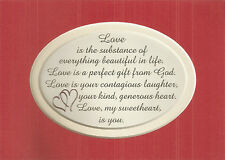 LOVE Sweetheart Laughter GENTLE Touch GIFT God Wife Husband verses poems plaques