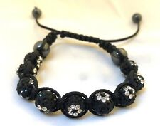 Vintage Dressy CHIC Black Rhinestone Knotted Ball Pull Tie Bracelet S/M