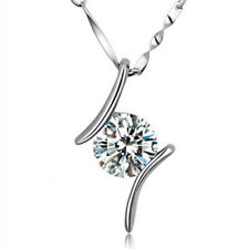 """Sterling Silver Finish Cubic Zirconia Round Charm Pendant Necklace,Chain 18"""""""