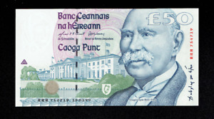 CENTRAL BANK OF IRELAND FIFTY 50 POUNDS BANKNOTE IRISH GEM? UNC? DUBLIN RARE