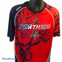 Florida Panthers Center Ice Graphic T-Shirt Panther Large Blue Red Reebok Hovkey