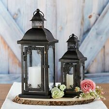 Small Black Ornate Lantern Rustic Antique Style Wedding Table Decor MW36961
