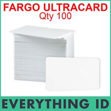 100 GENUINE FARGO 81754 HID CR80 ULTRACARD 30 MIL PVC BLANK WHITE PLASTIC CARDS
