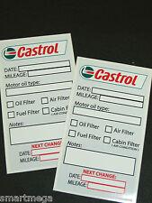 Juego de 10 CASTROL Cambio De Aceite Servicio Recordatorio Adhesivos,PVC