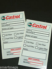 Set of 10 CASTROL Oil Change Service Reminder Stickers , PVC Gloss vinyl