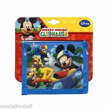 NEW MICKEY CLUBHOUSE NON WOVEN CHILDS BiFOLD WALLET 2 SIDED FULL MATTE PRINT (TK