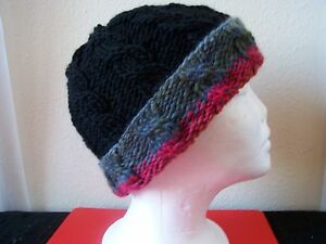 Hand knitted warm & cozy beanie/hat, cable pattern, black + colors, youth