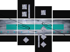 Large Teal Black Grey Abstract Canvas Picture Wall Art Split Multi 4 Panel Set