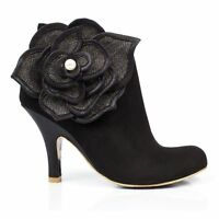 NEW IRREGULAR CHOICE *PEARL NECTURE* BLACK (D) FLOWER SHOE BOOTS-UK 3-4-5-6-7-8-