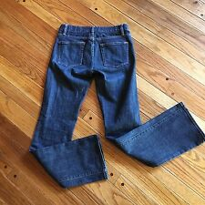 J Crew Indigo Blue Jeans Boot Cut Dark Wash Size 26 33 Length Denim Pants -C