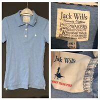 Jack Wills Women's Polo T Shirt Blue UK 8 Cotton Blend Short Sleeve