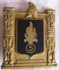 IN12084 - INSIGNE 5° R.M.P, émail, noir, nom du corps, dos lisse doré