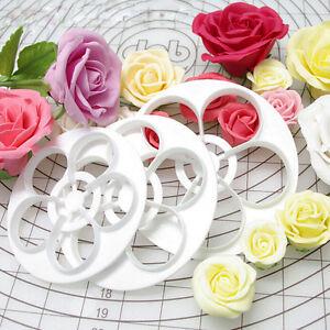 Fondant Cake Cookie Decor Sugarcraft Cutter Rose Flower Mold Gum Paste ToolWR