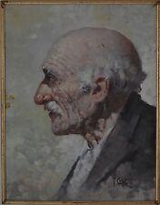 Artista italiano Adorabile VECCHIA UOMO CON I CAPELLI BIANCHI E BAFFI RITRATTO OLIO A BORDO