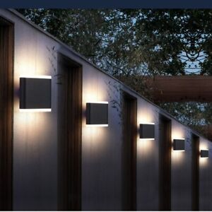 Outdoor 6W LED Waterproof  Wall Lamp Up Down Sconce Black Lighting Fixture IP65