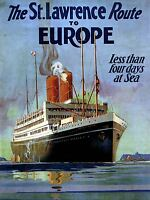 VINTAGE TRAVEL EUROPE DUDLEY WARD ST LAWRENCE ROUTE ART POSTER PRINT LV4993