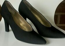 Vintage Yves Saint Laurent Fabric Upper Leather Classic Pump Heels Shoes 7.5M