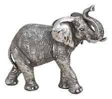 Elefantenfigur, silber Dekofigur, Dekoartikel, Tierfigur, Skulptur, Statue 21 cm