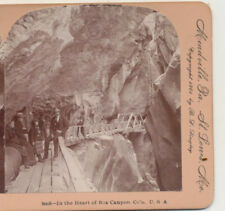 Group in Box Canyon Ouray CO Keystone Stereoview 1898