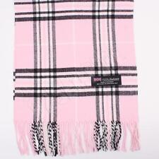 Women 100% CASHMERE Scarf Baby Pink tartan Plaid Design Soft MADE IN SCOTLAND
