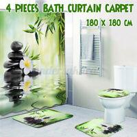 1/3/4 Bambus Badezimmer Set 180x180cm Duschvorhang & Badematte & Toilettendeckel
