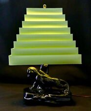 Mid-C Mod TV LAMP: Black Ceramic PANTHER + Pyramid Venetian Shade + Orig Finial.