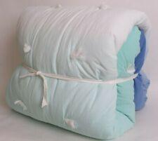 Pottery Barn Teen Dip Dye Pom FQ quilt, full queen, blue green white cool