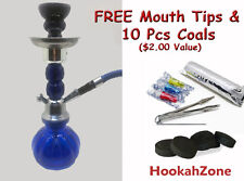 "Small 11"" Blue GEM Hookah Pumpkin Water Shisha Huka Pipe 10 Pcs Coal Tip 1 Hose"