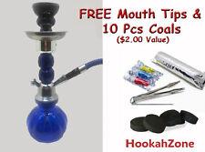 """Small 11"""" Blue GEM Hookah Pumpkin Water Shisha Huka Pipe 10 Pcs Coal Tip 1 Hose"""