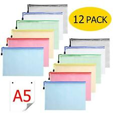 Document Case A5 – Pack of 12 Zip Pocket Plastic Zip Pouch Mesh Document Pocket