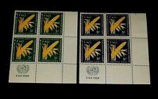 U.N. 1954,New York #23-24, Agriculture Issue, Mnh, Insc. Blks/4, Nice! Lqqk!