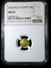 Ottoman Egypt AH1293//7 1882 Gold 5 Qirsh *NGC MS-67* Only 1 Graded Higher