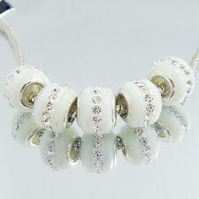 5pcs silver Lampwork Murano Glass Rhinestone Loose European Charm Beads 10x15mm