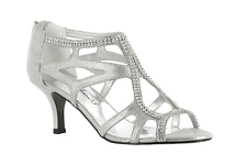 Women's Easy Street Flattery Strappy Evening Shoe Silver Size 5 #NC0IC-M229