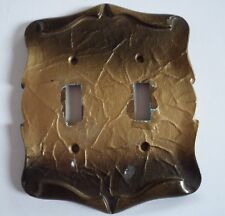 Vintage Double Light Switch Plate Metal Decorative Gold Pattern